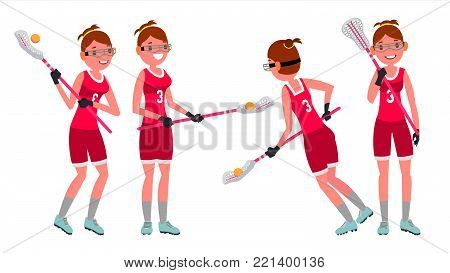 Women s lacrosse Vector. Lacrosse Practice. Teammates. Aggressive Women s player. Professional Athlete. Isolated Flat Cartoon Character Illustration