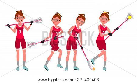 Lacrosse Female Player Vector. High School Or Colleges Girl. Team Members. Professional Athlete. Sport Competitions. Flat Cartoon Illustration