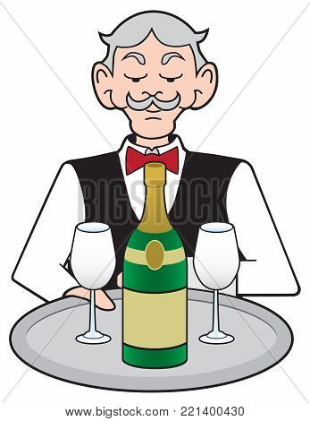 A stuffy cartoon waiter is presenting a bottle of champagne and two glasses on a platter