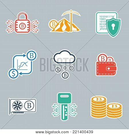 Bitcoin icon set. Crypto currency and mining icons. Vector illustration EPS10