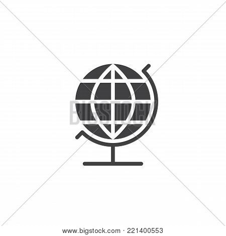 Geography globe icon vector, filled flat sign, solid pictogram isolated on white. Earth sphere symbol, logo illustration.