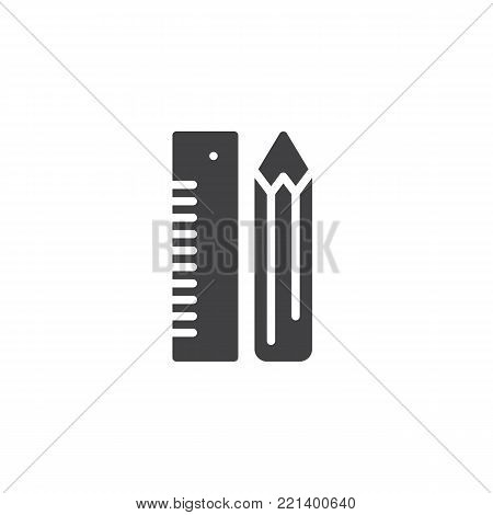 Pencil and ruler stationery icon vector, filled flat sign, solid pictogram isolated on white. Stationery symbol, logo illustration.