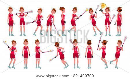 Female Lacrosse Player Vector. Profesional Sport. Holding Lacrosse Stick. Girl s Lacrosse Player. Isolated On White Cartoon Character Illustration
