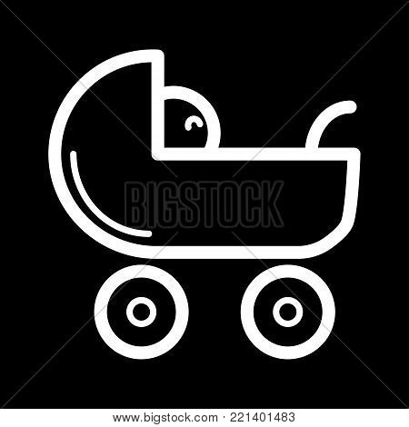 Baby carriage vector icon. Black and white pram illustration. Outline linear newborn icon. eps 10