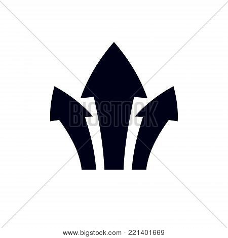 Vector boost up arrow, graphic design element. Corporate development logo isolated on  white background. Company increasing  concept.