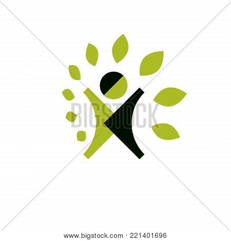 Vector illustration of excited abstract person with raised hands up. Go green idea creative logo. Healthy lifestyle metaphor. Vegetarian theme icon.