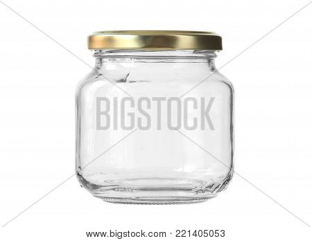 Round Shape Glass Canister isolated on white background clipping paths