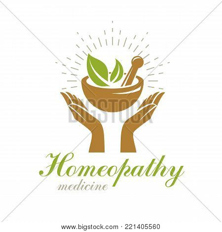 Caring hands holding mortar and pestle. Phytotherapy metaphor, vector graphic emblem can be used in medical treatment organizations.