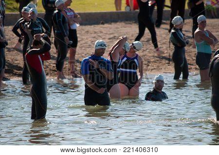 Swimming Portion of Triathalon, Lake Chapparel Triathalon, Calgary, Alberta, August 7th, 2011.