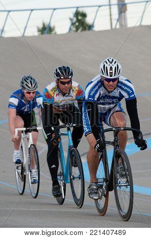 Cycling at Calgary Velodrome in Calgary, Alberta, Canada on September 2, 2011.