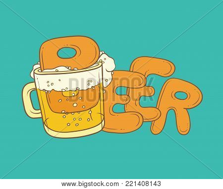 Vector sketch illustration pint, tumbler of beer. Bubbles and foam pouring from mug. Drink ale in glassware. Letters form the inscription and splashing in alcoholic beverage