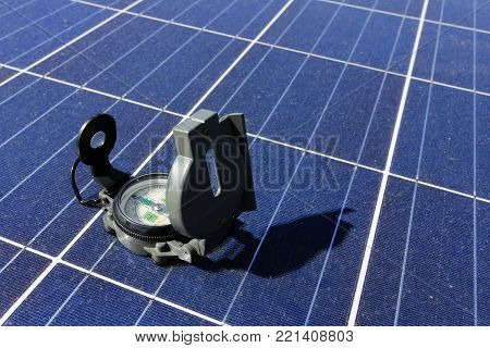 Compass on Solar Panel Importance of Direction Concept