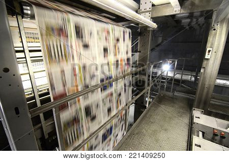 View on a printing press during printing process