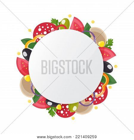 Pizza ingredient circle banner. Fast food label. Food ingredients for pizzeria, cafe, delivery design. Vector illustration.