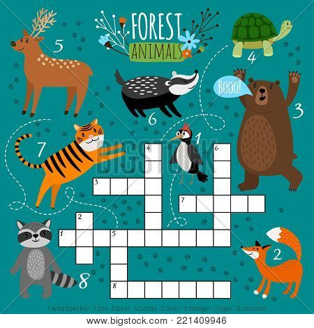 Printable animal crossword. Preschool puzzle quiz game, learning english kids brainteaser with forest animals, vector illustration