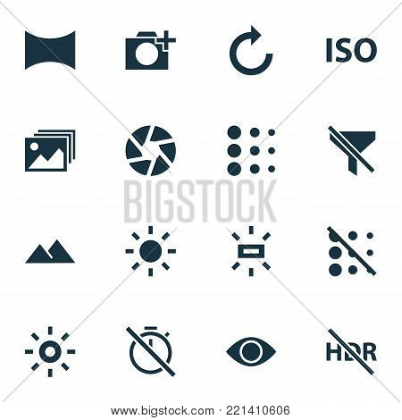 Image icons set with shine, no filter, photographing and other hdr off elements. Isolated vector illustration image icons.