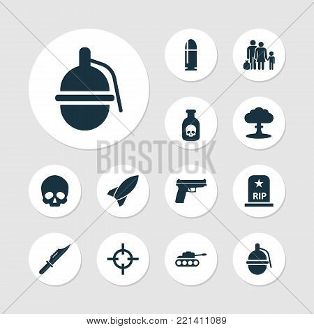 Warfare icons set with weapons, missile, target and other weapons elements. Isolated vector illustration warfare icons.