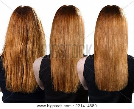 Back view on hair before and after treatment. Haircare concept.