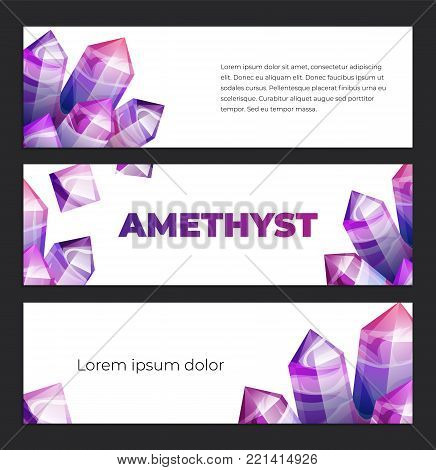 Ultraviolet amethyst gemstones design template. Vector horizontal banner of ultra violet gems on white isolated background. Boho magic crystals in trendy purple color of the year.