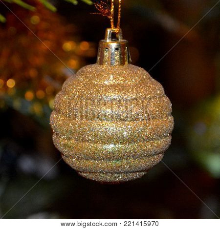 Christmas tree ornament. Glass globe in winter time for fir.