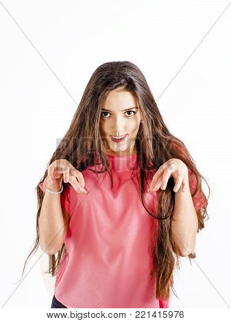Dental concepts. Portrait of happy teenage woman with dental braces. Pose of protection against ridicule