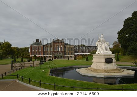 Statue of Queen Victoria, Kensington Palace, London, England, October 4th, 2017
