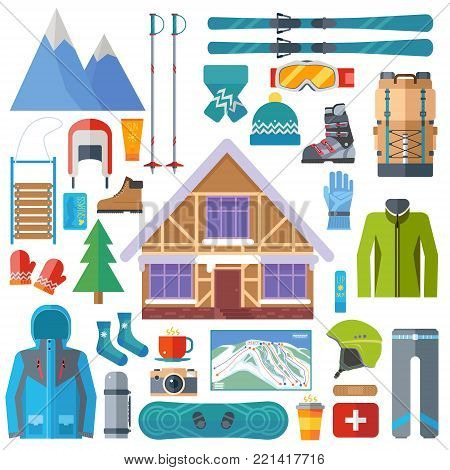 Winter sports activity and equipment icon set. Skiing, snowboarding vector isolated. Ski resort elements in flat design illustration