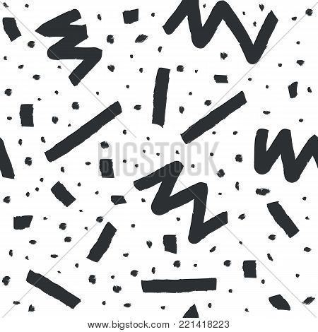 Hand drawn vector seamless pattern in memphis style with stripes, zigzag and blobs on white background for textile design, paper, branding