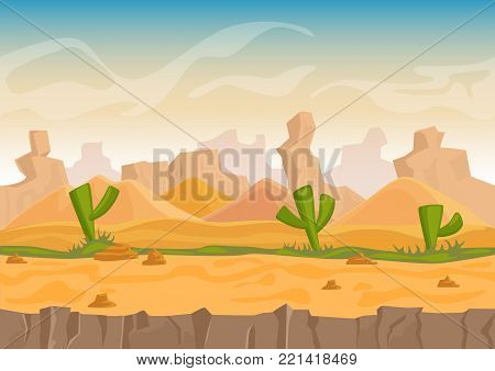 Cartoon sand and stone rocks desert landscape with cactuses and stone mountains. Vector game style illustration