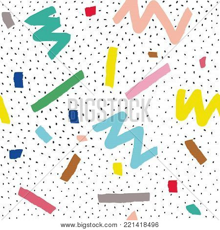 Hand drawn vector seamless pattern in memphis style with colorful stripes, zigzag and blobs on white background for textile design, paper, branding