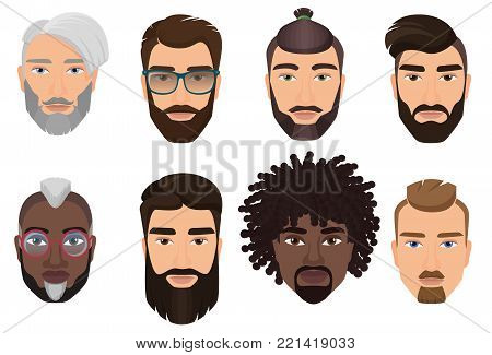 Colorful cartoon hipsters bearded men guys avatars with different hairstyles, beards and mustaches isolated