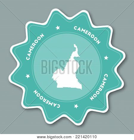 Cameroon Map Sticker In Trendy Colors. Star Shaped Travel Sticker With Country Name And Map. Can Be