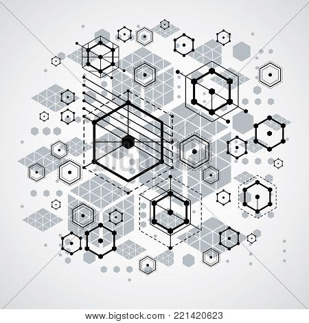 Bauhaus art, decorative modular vector backdrop made using striped hexagons and circles. Retro style pattern, graphic backdrop for use as booklet cover template. Illustration of engineering system.