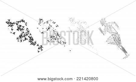 Running man. Modern abstract polygon vector design. Set of abstract vector runners. Polygonal background pattern with triangles. Polygonal geometric triangle background. Healthy lifestyle.