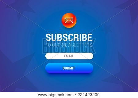 Subcribe form with name and email input fields and submit button. Vector form for user interface or web.