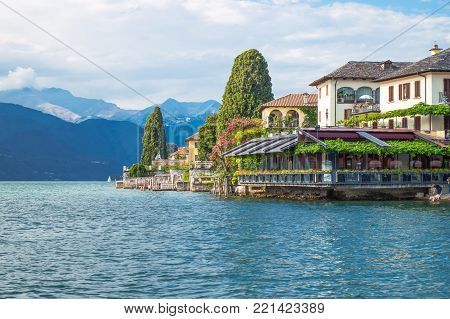 Orta San Giulio, Italy - August 18, 2013:  View of the country from the lake