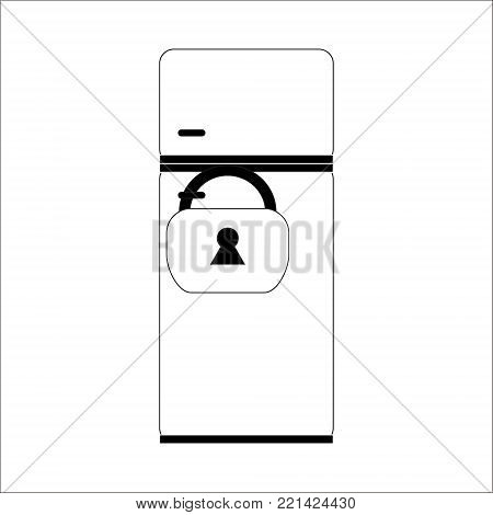 Refrigerator lock on the lock. Vector illustration. Drawing in the style of flat.