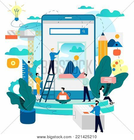 Mobile application development process flat vector illustration. Software API prototyping and testing background. Smartphone interface building process, mobile app building concept. Design studio