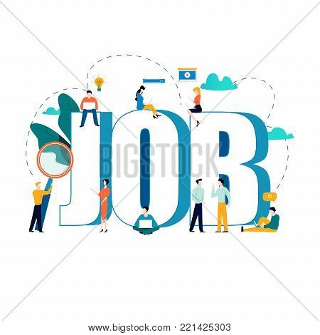 Job search, recruitment, hiring, employment, freelance, jobs, career concept. Flat vector illustration design for mobile and web graphics