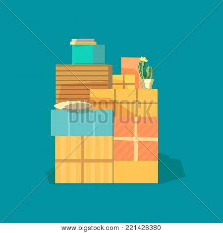 Home change. Package domestic objects to move to new house, moving cardboard boxes. Relocation to apartment, paper box container delivery packing. Mover service advertisement flat vector background