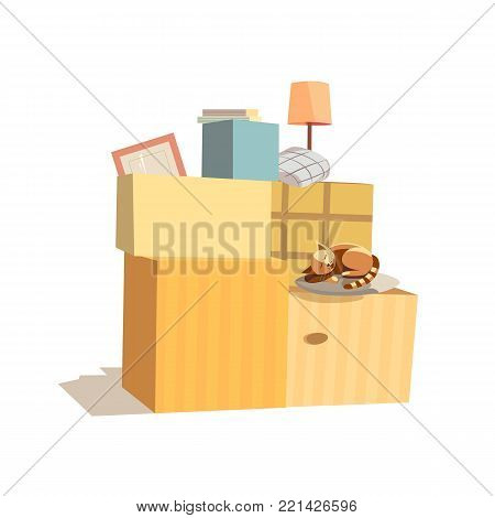 Home change icon. Package to move to new house, moving cardboard boxes, domestic animal pussy cat. Relocation to apartment, paper container delivery packing. Comic fancy cartoon. Vector illustration
