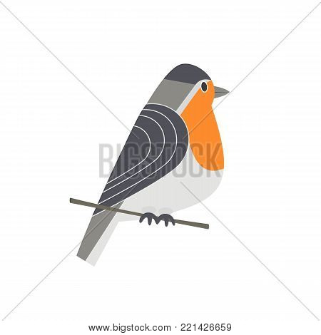 Cute Robin bird icon. Freehand cartoon comic style. Winter birds of city garden, backyard. Stylized funny animal isolated. Element for banner background. Vector design of logotype, advertisement label