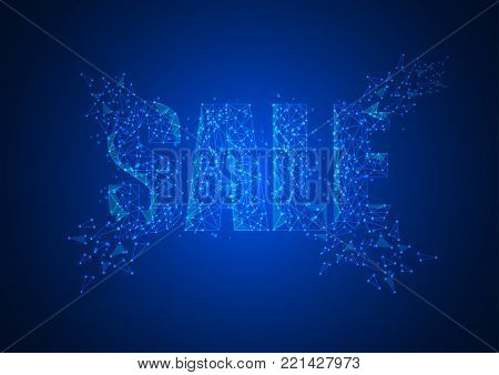 Funnel low poly wireframe isolated black on blue background. Abstract mash line and point origami. Vector illustration. Big datta or sales funnel concept with geometry triangle.