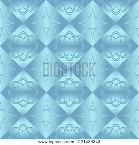 Blue metallic regular seamless pattern.  Metal foil with pattern. Glossy metal surface. Shiny metal. Blue metallic regular seamless pattern. Shiny metallic sufrase.