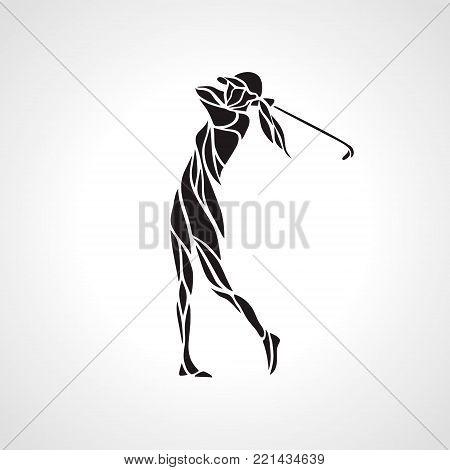 Golf Sport Creative Curve Silhouette of Lady Golfer finished hitting Tee-shot. Golfer Logo