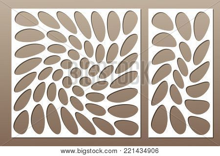 Set decorative card for cutting. Circle spiral pattern. Laser cut. Ratio 1:1, 1:2. Vector illustration.