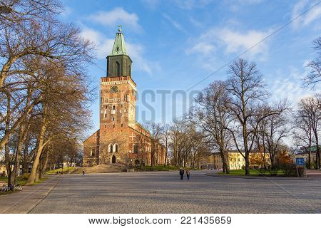 Front Side Of Turku Cathedral In Autumn.