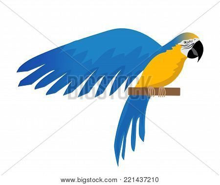 Parrot Ara ararauna flat icon, cartoon style. Blue-and-yellow macaw character. Colored bird flies. Isolated on white background. Vector illustration