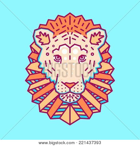 Geometric head of lion. Simple forms. Animal cute logo. Flat style