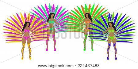 Girls in carnival costumes. Brazilian samba dancers. Rio de Janeiro women dancing. Isolated on white background. Vector illustration